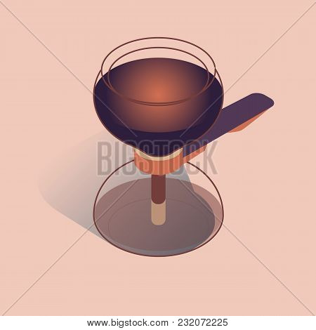 Vector Illustration With 3d Vacuum Coffee Maker In Isometric Flat Style On Pink Background
