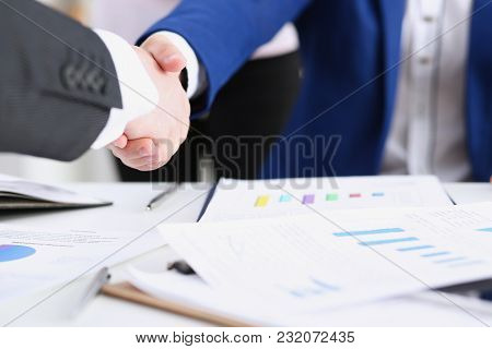 Man In Suit Shake Hand As Hello In Office Closeup. Friend Welcome Mediation Offer Positive Introduct