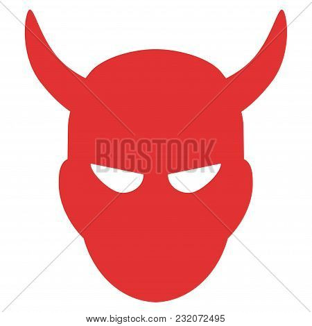 Daemon Head Vector Icon. Illustration Style Is A Flat Iconic Symbol.