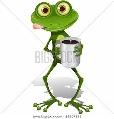 Frog With Cup Coffee