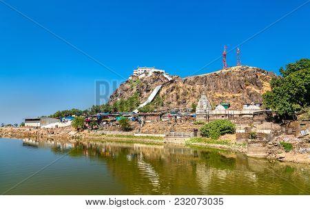 Dudhiyu Talav Lake and Kalika Mata Temple at the summit of Pavagadh Hill - Gujarat state of India poster