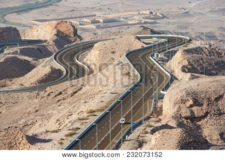 The Winding Road Leading To The Summit Of Jebel Hafit (aka Jebel Hafeet) On The Outskirts Of Al Ain