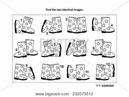 Iq Training Find The Two Identical Pictures With Gumboots Visual Puzzle And Coloring Page. Answer In