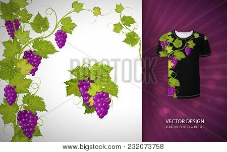 Vector Design For Shirts, Blouses, T-shirt. Grapes Branch. Colorful Embroidery.