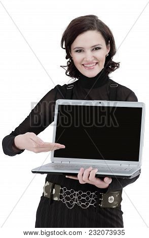 Closeup.modern Business Woman Showing A Laptop.isolated On White.