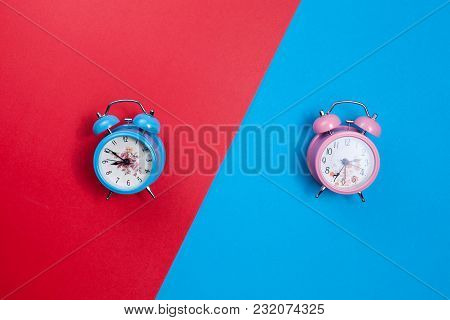 Beautiful New Classic Alarm Clock On Paper Background