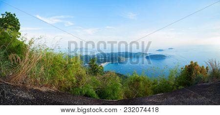 Panorama Of Scenery Landscape View Phahindum Viewpoint New Landmark In Phuket Thailand,near Promthep