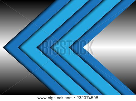 Abstract Blue Tone Arrow Overlap On Metal Design Modern Futuristic Background Vector Illustration.