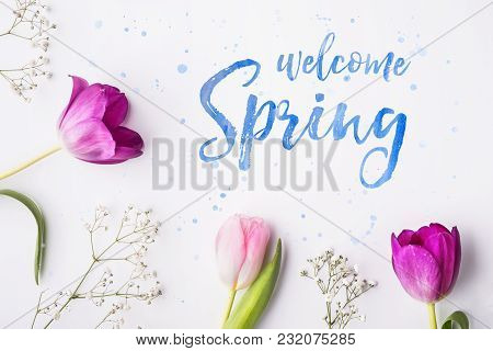 Welcome Spring Phrase And Flowers On A White Background. Studio Shot. Flat Lay.