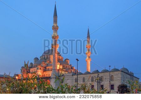 Istanbul, Turkey - March 26, 2012: New Mosque With Evening Illumination.