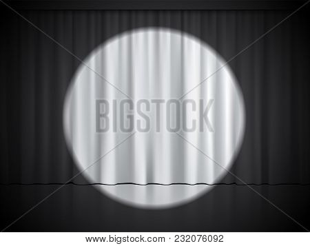 Cinema, Theater Or Circus Stage With Spotlight On White Curtains. Vector Background