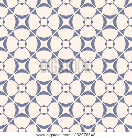 Vector Geometric Ornament Pattern With Rounded Floral Shapes. Abstract Seamless Texture In Retro Vin
