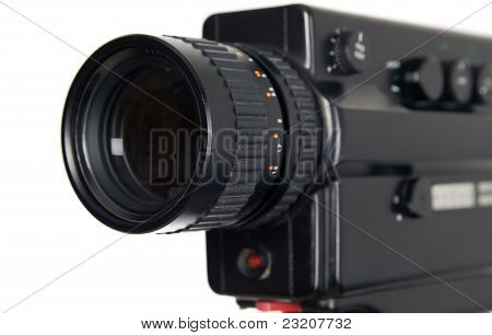 Old antique video camera on white background poster