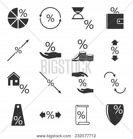 Set Of Icons Associated With Loans And Interest Rates On Them On A White Isolated Background. Vector