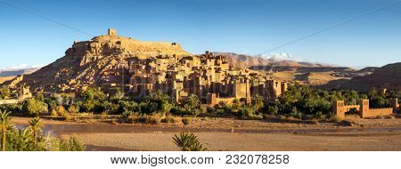 Panorama of Kasbah Ait Ben Haddou in the Atlas Mountains, Morocco
