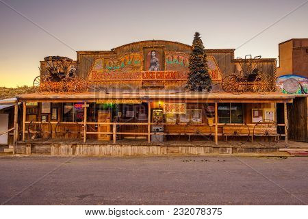 Oatman, Arizona, Usa - December 28, 2017 : Restaurant In Oatman On The Historic Route 66. This Forme