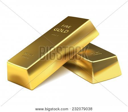 illustration Two Gold bars on a white background. Banking business concept.