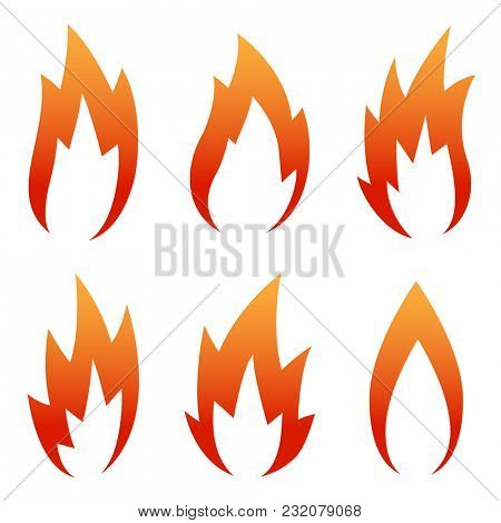 Illustration six Red Flame Icon set isolated on a white background.