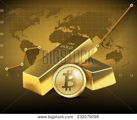illustration Bitcoin and two Gold bars on dark background. Concept of growth of the cryptocurrency in financial world. Banking business.