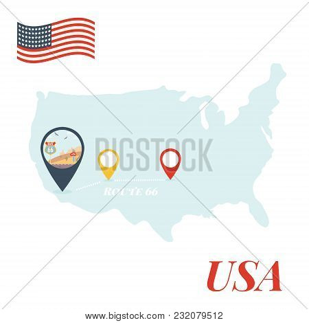 Usa Map With Route 66 Pin Travel Concept Vector Illustration