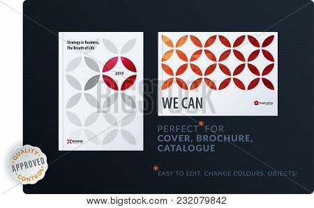 Creative Design Of Brochure Set, Abstract Annual Report, Horizontal Cover, Flyer In A4 With Red Colo