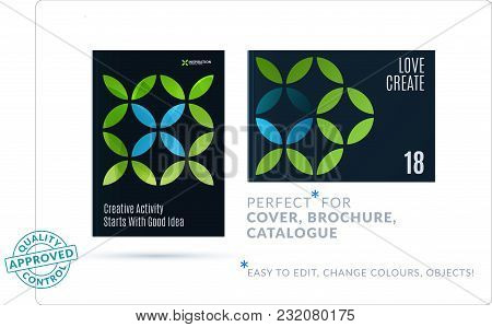 Creative Design Of Business Brochure Set, Abstract Horizontal Cover Layout, Flyer In A4 With Green C