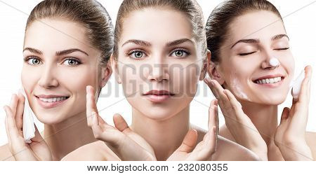 Collage Of Young Woman Cleanses Skin With Foam And Napkins Isolated On White. Skincare Concept.