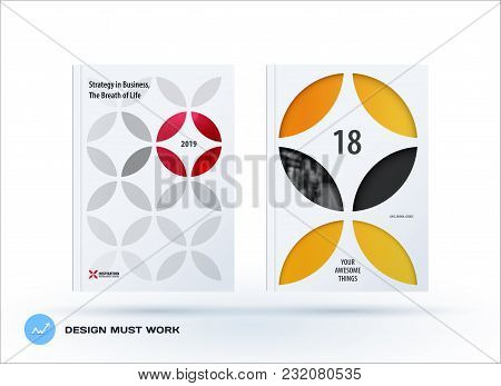 Business Set Of Design Brochure, Abstract Annual Report, Horizontal Cover Flyer In A4 With Colourful