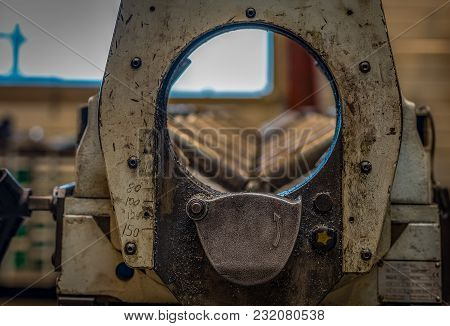 View Through A Large Pipe Saw Toward The Rolls
