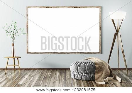 Modern Interior Of Living Room With Grey Ottoman, Floor Lamp  And Mock Up Frame 3d Rendering