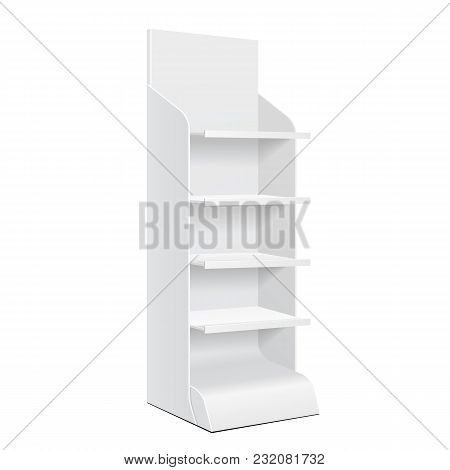 White Pos Poi Cardboard Floor Display Rack For Supermarket Blank Empty Displays With Shelves Product