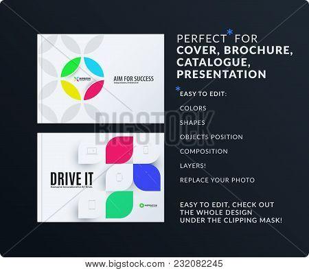 Presentation. Abstract Vector Set Of Modern Horizontal Templates With Colourful Circle Segments, Flo