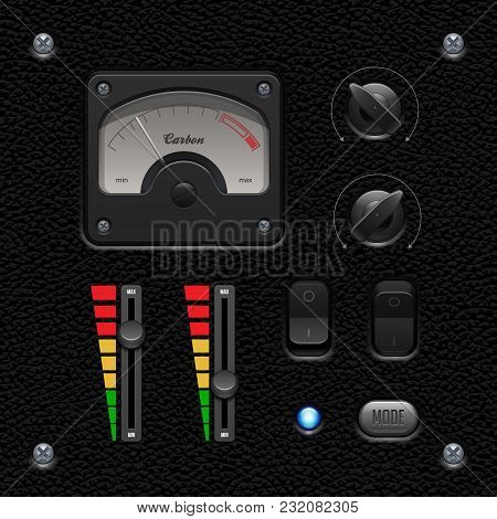 Leather Ui Application Software Controls Set. Switch, Knobs, Button, Lamp, Volume, Equalizer, Voltme