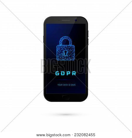 Gdpr - General Data Protection Security.  Phone With Padlock On Screen Isolated On White Background.