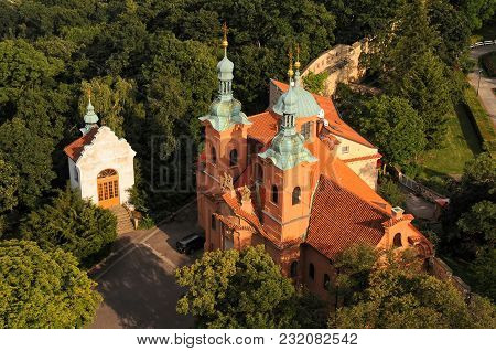 Aerial View Of Saint Lawrence Cathedral On Petrin Hill In Prague, Czech Republic