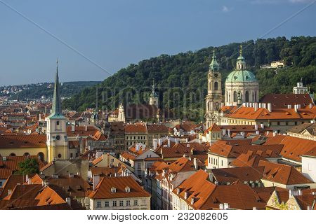 Aerial View Over Mala Strana District In Prague, Czech Republic From Hradcany Castle Hill