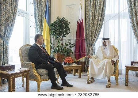 Doha, Qatar - 20 Mar 2018: President Of Ukraine Petro Poroshenko And Emir Of The State Of Qatar Shei
