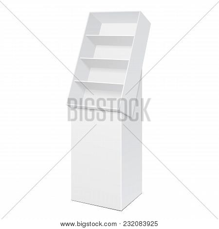 White POS POI Cardboard Floor Display Rack For Supermarket Blank Empty Displays With Shelves Products On White Background Isolated. Ready For Your Design. Product Packing. Vector EPS10 poster
