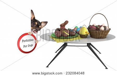 Cute Dog Looking To The Easter Eggs But Is Forbidden For Dogs