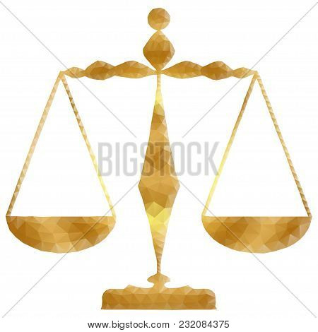Golden Justice Scales Or Zodiac Sign Of Libra Style Design. Polygonal Low Poly  Illustration With Tr