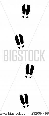 Moose, Elk Or Red Deer Tracks - Isolated Black Icon Vector Illustration On White Background.