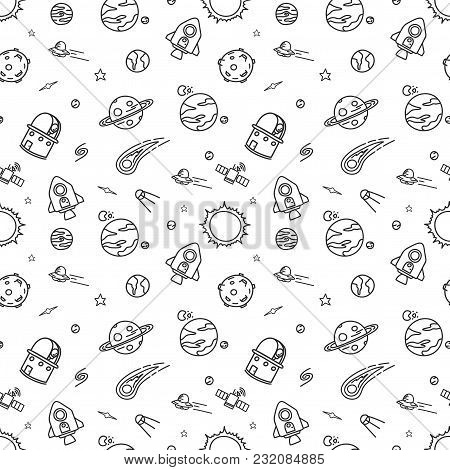 Hand-drawn Doodle Seamless Pattern Background Is Space Exploration And Cosmology. Vector Illustratio
