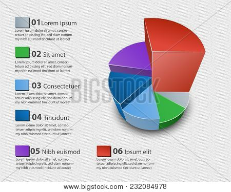 Creative Vector Colorful 3d Pie Chart Can Be Used For Work Flow Layout, Diagram, Annual Report, Web