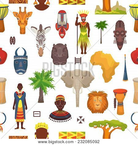 African Culture Vector Characters In Traditional Clothing In Africa With Ethnic Tribal Mask Or Drums