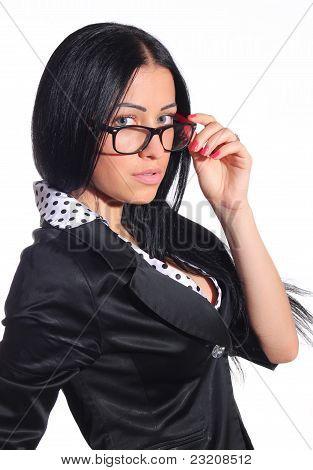 A Sexy Secretary Woman In Glasses