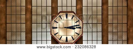 Retro Clock On The Wall Of The Railway Station, Panoramic Photo