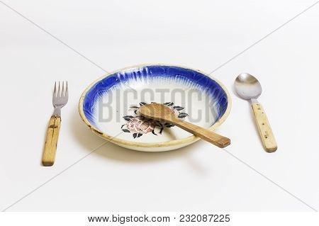 Old Kitchenware, Font, Slotted Spoon, Spoon And Fork, On A White Background