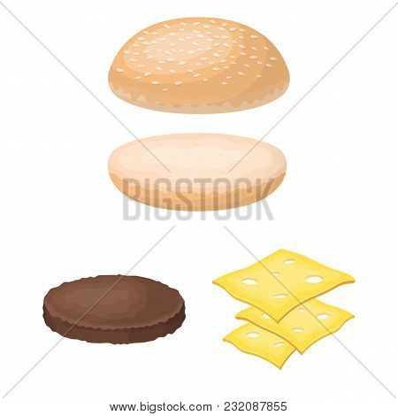 Burger And Ingredients Cartoon Icons In Set Collection For Design. Burger Cooking Vector Symbol Stoc
