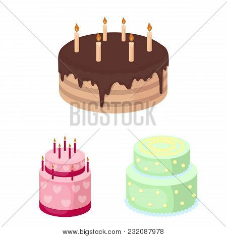 Cake And Dessert Cartoon Icons In Set Collection For Design. Holiday Cake Vector Symbol Stock  Illus