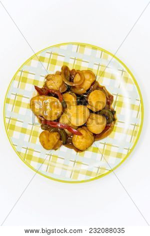 wok fried Scallops stir fry with sweet peppers and chinese vegetables